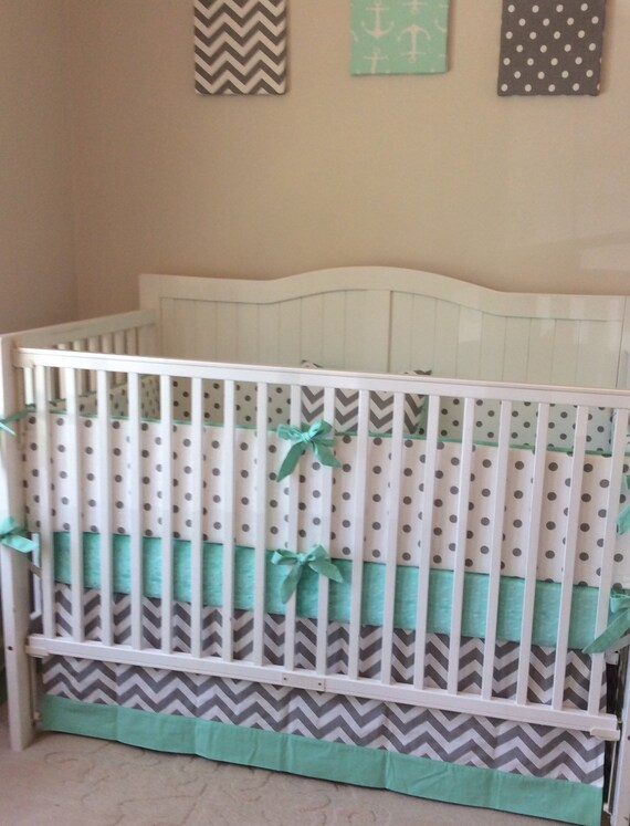 Baby Boy Baby Girl Crib Bedding in Mint and Gray