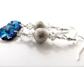 Bermuda Blue Crystal and Textured Silver Dangle Earrings, Clear Crystal Accents // colorful formal earrings, hypoallergenic steel