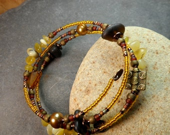 Some like it hot   an adjustable wrap bracelet made with genuine deep olive sea/ beach glass and yellow opal beads
