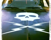 Large 3' X 3' Death Proof Skull and Bolts Wall / Car Decal
