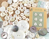 85 Old Mother of Pearl Buttons, Extra Large to Doll Size, incl Sets, Smoky