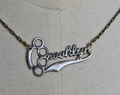 Brass Knuckle Brooklyn Nameplate Necklace  in Antiqued Brass