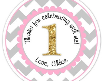 Custom 1st Birthday Labels, 1st Birthday Stickers -  Chevron and Gold Glitter First Birthday, Personalized for you, You choose colors