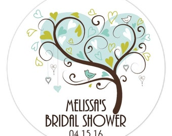 60 Wedding Shower Stickers, Tree Bridal Shower Labels, Stickers, 2.5 inch round, Wedding Shower Favor, Bridal Shower Favor, Flower Sticker
