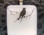 Snow Bird on a Branch Pendant, Fused Glass Jewelry Handmade in North Carolina