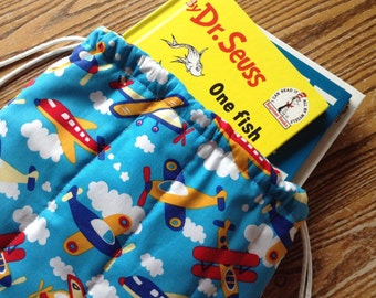 Quilted Backpack for Toddler Drawstring Closure Bright Airplanes, ready to ship