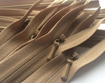 INVISIBLE Zippers- YKK Color 203 Tan- 5 Pieces- Available in 16, 22 and 24 Inch