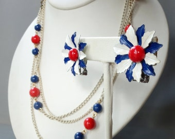 Vintage red white and blue enamel flower earrings and beaded necklace set