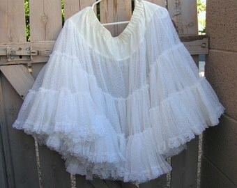 Vintage White Lace Petticoat Full Slip Skirt Crinoline Great American Square Dance Company Rockabilly Skirt Country Western Wedding