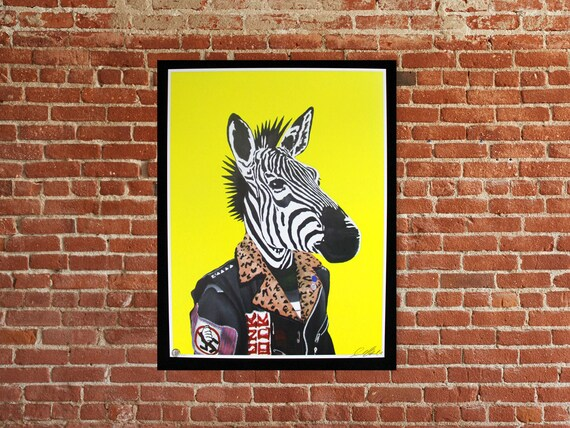 Punk Rock Zebra limited edition signed numbered art print