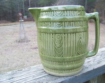 Vintge McCoy Pitcher--Green Barrel Pitcher--Beer Keg Pitcher--Cottage Charm--Banded Barrel Stoneware Serving Pitcher--My Vintage Home