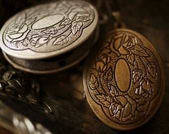 Solid Perfume Locket Necklace with Victorian Engraved Design - brass or silver locket pendant