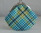 Complex Plaid Coin Purse Change Pouch with Metal Kiss Lock Clasp Frame - READY TO SHIP