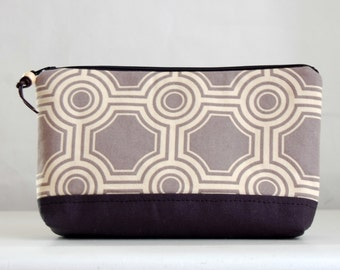 Ginseng Tile Wide Padded Zipper Pouch Gadget Case Cosmetics Bag - READY TO SHIP