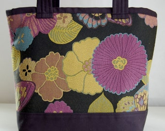 Plum Blooms Fabric Tote Bag - READY TO SHIP
