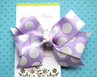 Lavender with White Dots Classic Diva Bow
