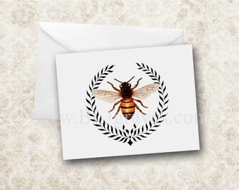 Greeting Cards Note Cards Bee Wreath Stationery Set Blank Invitation NC002
