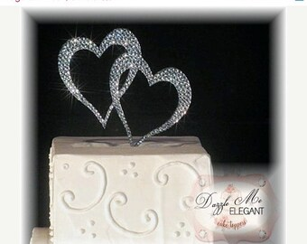 Heart Cake Topper - Double Heart Cake Topper - Two Hearts Cake Topper - Custom Wedding Cake Topper - Crystal Cake Topper - Bride and Groom