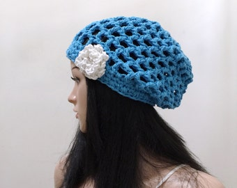 Grid Slouchy Beanie with Flower Applique Motif - Crocheted in 100 percent Cotton Yarn