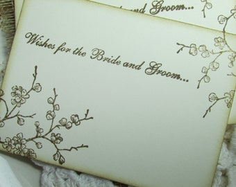 Wedding Wish Cards.  Cherry Blossom Guest book Alternative