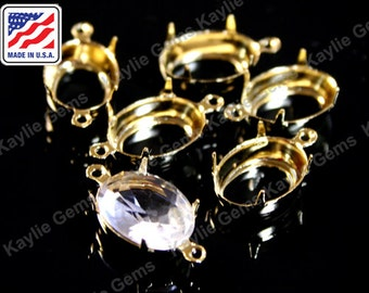 14x10 Oval Prong Setting Pure 24K Gold Plated Open Back 1 Ring / 2 Ring Made In the USA -6pcs