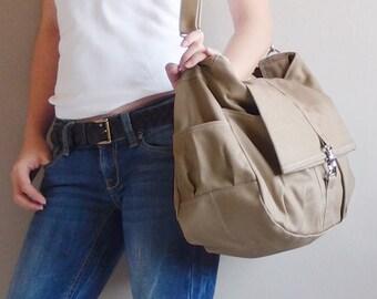 Shoulder Bag, Sling Bag, Tote, Diapers bag, School Bag, Messenger Bag, Hobo Bag, Gift Ideas For Women - CLASSIC in Khaki - SALE 30% OFF