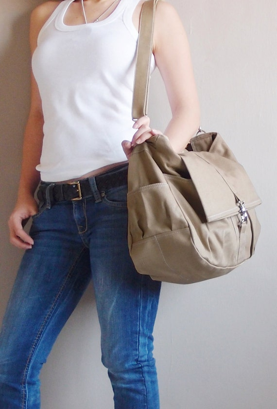 Canvas Shoulder Bag in Khaki, Crossbody Bag, Tote Bag, Diapers bag, Travel Bag, Sling Bag, Gift Ideas For Women - CLASSIC - SALE 20% OFF