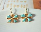 Polka Dot Bow Dangle Earrings