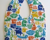 Ready To Ship Reversible Monsters Flannel Baby Bib - Talking Monsters Baby Bib - Monsters Toddler Flannel Bib