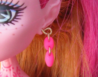 Neon Pink Doll Jewelry Earrings fits all Fashion Dolls