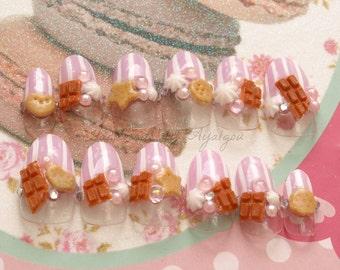 Sweet lolita, fake sweets, lolita accessory, kawaii nail, deco nail, almond nail, pink, choco, whipped cream, cookie, yume kawaii, Harajuku