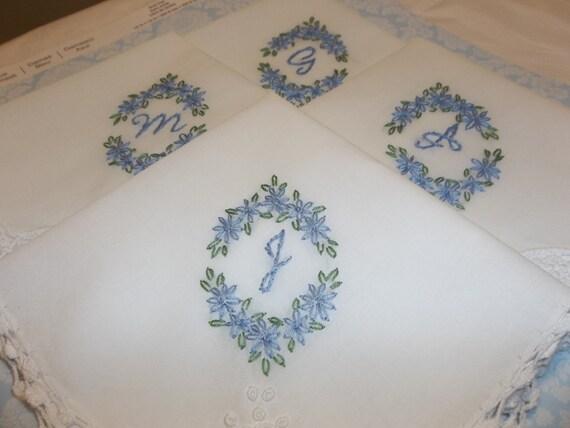 bridesmaid handkerchief hand embroidered wedding