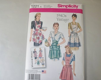 New Simplicity, Vintage Style Apron Pattern, 1221 (Free US Shipping)