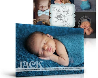 Boy or Girl Birth Announcement Templates - WELCOME LITTLE ONE -  5x7 Flat Card Photoshop Templates for Photographers & Scrap Bookers.