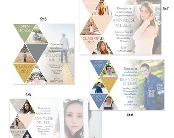 Senior Graduation/Invitation Templates - SYMMETRY - (4) 1- Sided Photo Card Photoshop Templates for Photographers (4x6,4x8,5x5,5x7).