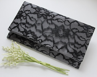 Satin Clutch, Lace Wedding Clutch, Silver Clutch, Black and Silver Clutch, Vintage Wedding, Bridesmaid Gift, Bohemian Style