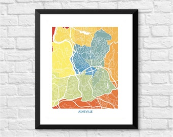 Asheville Map Print.  Choose the colors and size.  North Carolina Wall Art.  Show your Local NC Love.
