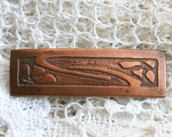 Antique Vintage Hand Crafted Copper Brooch C-Clasp