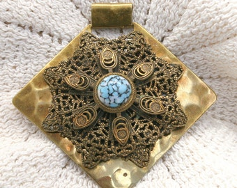 Pendant Made with Hand Hammered Brass and Vintage Gold Filigree and Blue Stone Jewelry