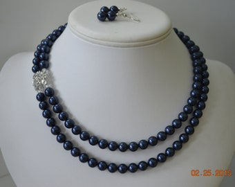 Two Strand Swarovski Navy Blue Pearl with Square Rhinestone Pendant Beaded Necklace and Earring Set    Great Brides or Bridesmaid Gifts