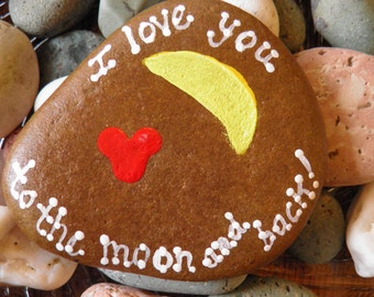 Hand painted Idaho River Rock-Heart-Moon-Love-Acrylic Original-Love you to the moon and back- Paper weight-Shelf Sitter-