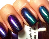 "Nail Polish - Multichrome Chameleon Chrome - Blue/Purple/Green/Copper Color Shifting - ""Lagoon"" - Hand Blended - 0.5 oz Full Sized Bottle"