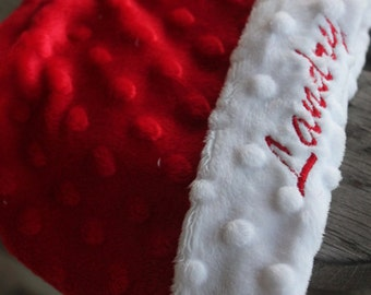 Reversible Soft and Comfy Kuddle Minky Dot Fleece Personalized Baby Beanie Hat - Red and White Shown Other Colors Available