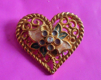 Vintage I love you Heart Brooch Pendant