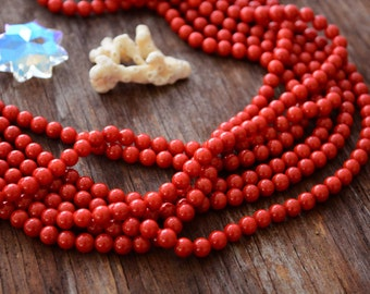 "Deep Red 6mm Coral Beads, Beautiful grade A, 16"" strand with 70 Beads, Bamboo Coral / Jewelry Making Supplies, Semiprecious, DIY"