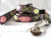 Argyle (purple, pink, green) Small/Medium Dog Leash