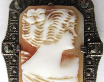 ANTIQUE Sterling Silver CAMEO & MARCASITE  Pendant -- Edwardian Era -- Early 1900's