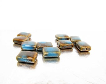 Rectangle Pottery Beads 10 blue brown Beads Jewelry Necklace Bracelet Bead Supply # 75