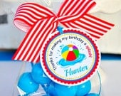 Beach ball Gift Tags, Beach Ball Favor tags, Pool Party Favor Tags - Set of 12