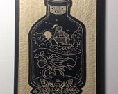 Hand Carved Ship in a Bottle Wall Art / Woodcut